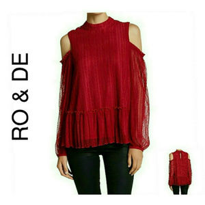 Pretty Red Lace Cold-Shoulder Top NWT $78 L